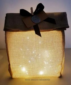 Sachet lumineux PtiKraft tissu brut lumière chaude