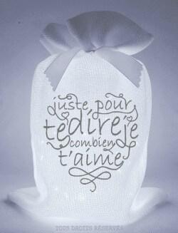 Ptipochon© juste pour te dire combien je t'aime tissu blanc lumière froide motif gris