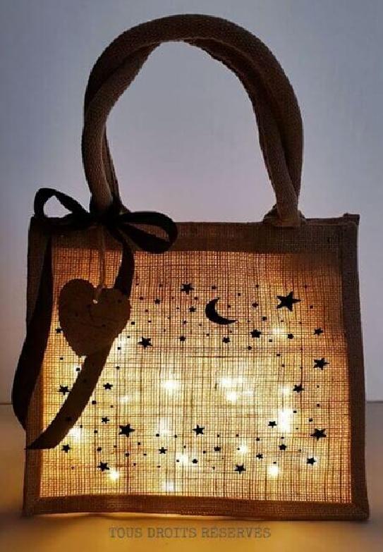 Cabas lumineux PtiKabas© étoiles lune prénom