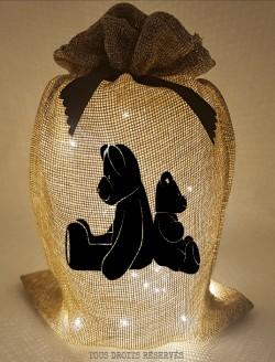 pochon-lumineux-oursons-tissu-beige-lumière-chaude-motif-noir