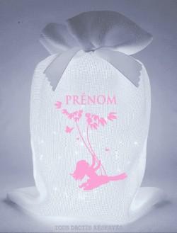 Pochon balançoire tissu blanc lumière froide motif rose