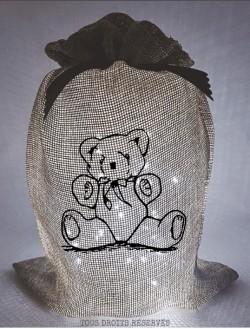 Pochon lumineux ourson tissu beige lumière froide motif noir