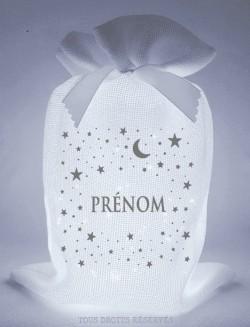 Pochon lumineux Ptipochon© étoiles lune prénom tissu blanc lumière froide motif gris