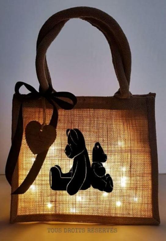 Cabas lumineux lumière chaude motif noir