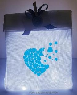 sachet lumineux tissu blanc lumière froide motif bleu